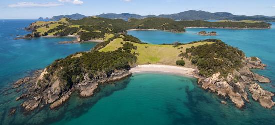 Aerial colpo di Urapukapuka Island, Nuova Zelanda