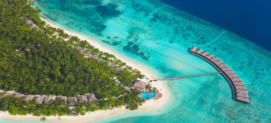 Veduta aerea di un Tropical Resort, Maldives