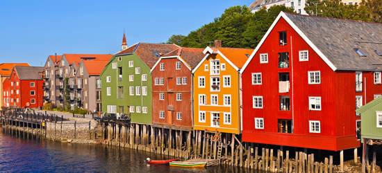 Case colorate di Trondheim, Norvegia