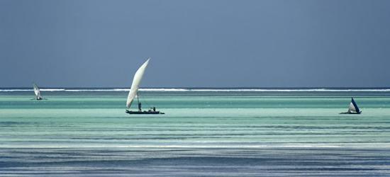 Barche vicino alla spiaggia, Zanzibar