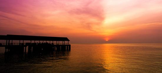 Pier al tramonto, Isole Tioman